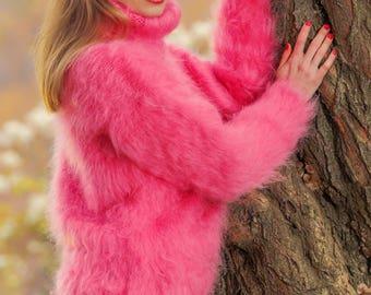 Pink mohair sweater handmade luxury fluffy jumper by SuperTanya
