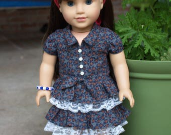 "18"" Doll Clothes Country Style Summer Dress Fits American Girl Tenney Grant"
