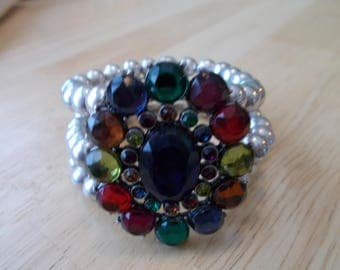 3 Row Silver Pearl Stretch Cuff Bracelet with a Multi Color Charm Center