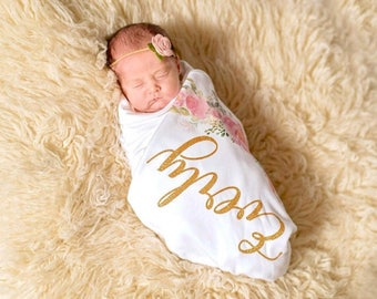 Floral Newborn Girl Personalized Blanket, Newborn Girl Take Home, Receiving Blanket, Boho Swaddling Blanket, Baby Shower Gift, Baby Swaddle