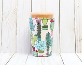 Iced Coffee Cozy, Coffee Cozy, Cactus Cup Cozy, Cup Sleeve, Succulents Coffee Cozy, Coffee Cuff, Eco Friendly, Insulated Cup Sleeve