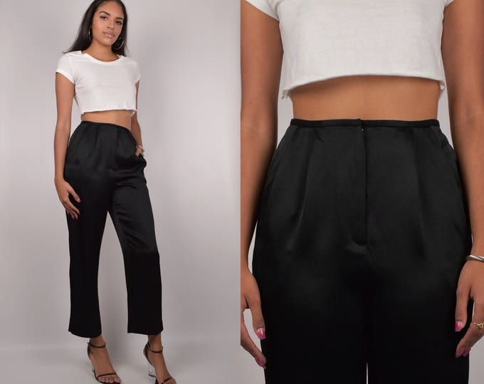 Black Silky High Waist Trousers