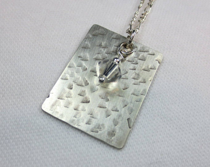 Texture #4 - Dogtag With 6 mm Bead is Hand Cut Hand Hammered on Sterling Silver & 14k Gold Fill - Bead Necklace - Dogtag Necklace