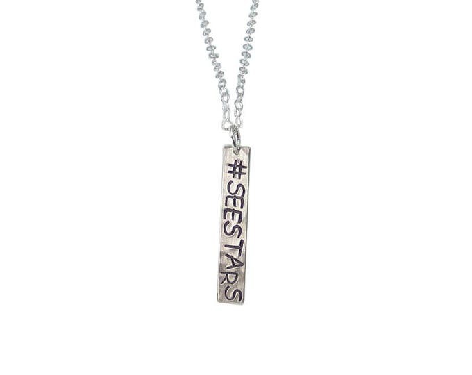 Personalized Vertical Bar Necklace - Letters Positioned Sideways
