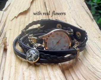 BRACELET WRAP WATCH, vegan leather wrap watch, real flower watch, gold bracelet watches, gray leather watch, wrist watch, gift for women