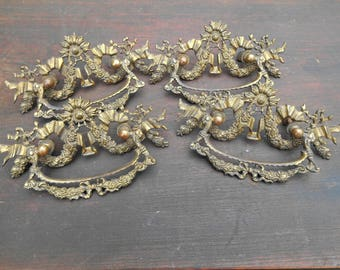 """Four Antique Brass Drawer Pulls Hardware Matching Set of 4 Large Handles Salvage Furniture Accessory 6 3/8"""" Ornate Decor Instant Collection"""