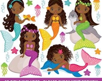 50% OFF SALE Mermaids Clipart - Vector Mermaids Clipart, Fish Girls Clipart, African American Clipart, Mermaid Clipart, Mermaids Clip Art