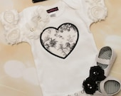 Baby Girl White Short Sleeve One Piece with Embroidery Leopard Heart Applique and Lace Headband