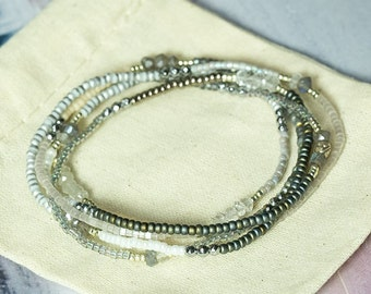 Wrap Bracelet, BeadedWrap Bracelet, Moonstone Bracelet, Beaded Wrap Bracelet, Seed Bead Bracelet, Long Necklace, Boho Jewelry, Wrap Bracelet