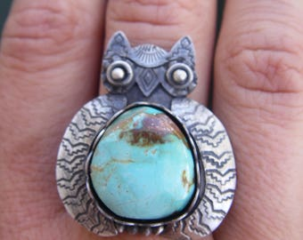 turquoise Owl ring in sterling silver