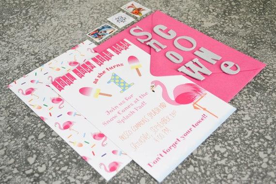 Flamingo Themed Birthday Party Invitations - Little Girl's Birthday Party, First Birthday - Pack of 25