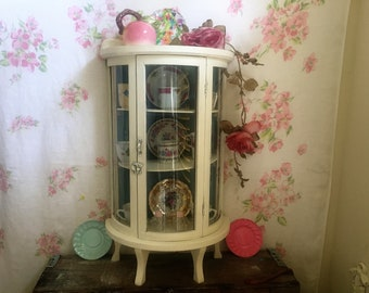 """Vintage Wood Glass Curio Cabinet - 2 Tier Footed Shabby Chic Display Case  - Convex Curved Glass front and sides LARGE 23"""" Tall - Art Deco"""