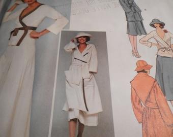 Vintage 1970's Vogue 1377 Paris Original Sonia Rykiel Coat Top Skirt and Hat Sewing Pattern  Size 8 Bust 31.5