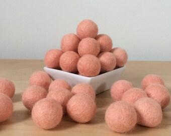 Felt Balls: PEACH, Felted Balls, DIY Garland Kit, Wool Felt Balls, Felt Pom Pom, Handmade Felt Balls, Peach Felt Balls, Pink Pom Poms