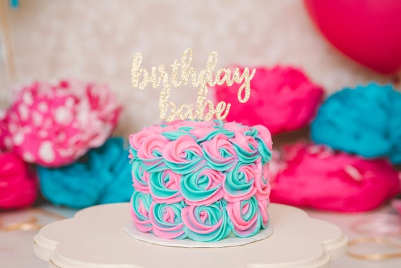 Birthday Babe Cake Topper - Glitter - Smash Cake Topper. First Birthday. Birthday Cake Topper. First Birthday. 1st Birthday. 30th Birthday.