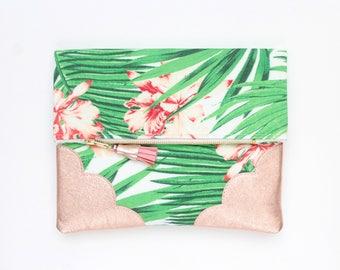 Palm clutch bag. Fold over clutch. Leather handbag. Statement purse. Tropical print fabric. Rose gold natural leather handbag /TROPICANA 8
