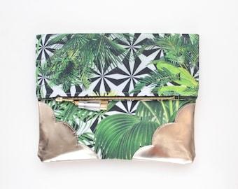 Palm clutch bag. Fold over clutch. Leather handbag. Statement purse. Tropical print fabric. Metallic silver leather handbag /TROPICANA 38