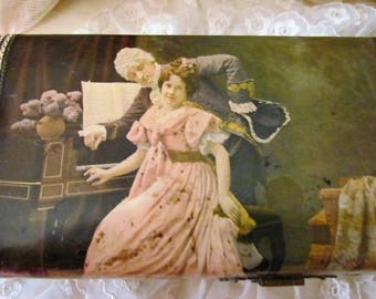 Victorian Celluloid Glove Dresser Trinket Box With Charming Family