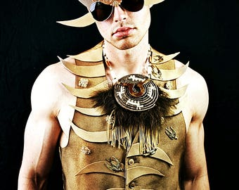 Mens Rugged spiked warrior bling gold vest top costume accessory festival