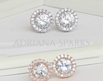 Halo Stud earrings, Crystal earrings,Sterling Silver Silver Stud Earrings,  Bridal jewelry, Bridesmaids Jewelry, Crystal Stud Earrings EC352