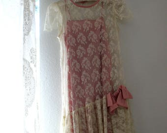 Pink and white lace vintage dress with a silk pink bow