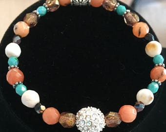 Peach Faceted Quartz Beads Friendship Bracelet With Sparkly Pave Crystal Bead, and Fire Polished Czech Beads.