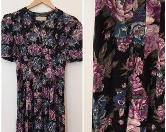 Vintage 1980's Dress / Small/Med / Vintage Floral Dress