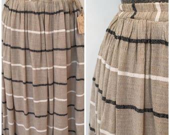 Vintage Linen Skirt / Sm/Med / Jute Skirt