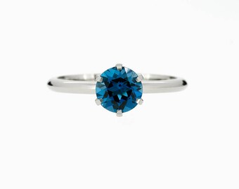 London blue topaz engagement ring,  blue topaz solitaire ring, unique engagement, topaz ring, white gold, yellow gold, teal engagement