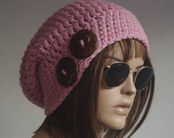 Womens Hats  pink chemo Hat beret Hat  Women Hat cable Slouch Beanie Cable Women Hat Oversized Hat Cable Hat Chunky Knit Hat