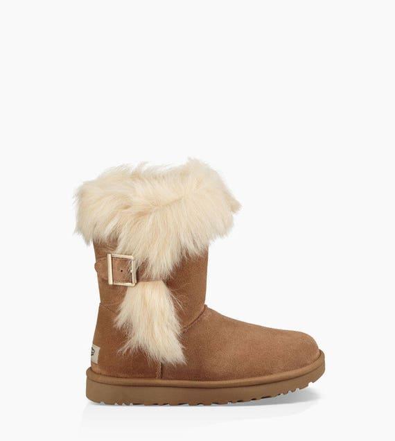 Custom Crystal UGG Short Deena Fur Buckle Wool Slip On Boot brown tan black w/ Swarovski Bling Glass Slipper Shoe Dynamite Rhinestone Jewels