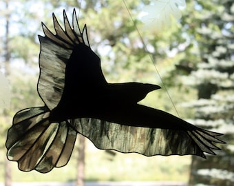 Stained Glass Raven, Stained Glass Bird, Raven Art, Gothic, Crow, Stained Glass Window Panel, Crow Art, Glass Art