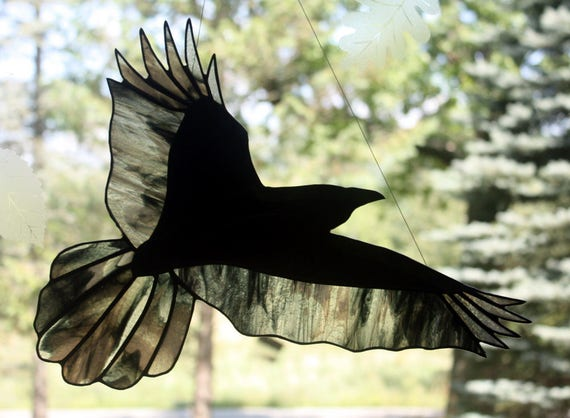 Stained Glass Raven in Flight