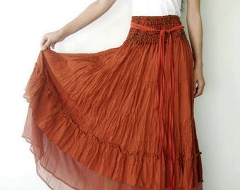 NO.36 Orange Cotton Tiered Peasant Skirt, Long Maxi Skirt