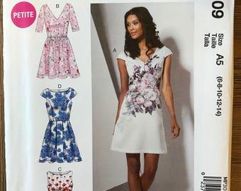 UNCUT Misses' Dress Sewing Pattern McCall's P309 Size 6-8-10-12-14 Petite, A Line, Cocktail, Summer Dress, Princess Seams