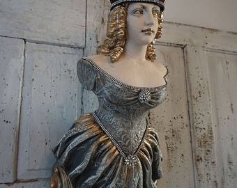 Figurehead Statue ship front lady wall hanging nautical figure head French Nordic bow maiden woman starfish crown decor anita spero design