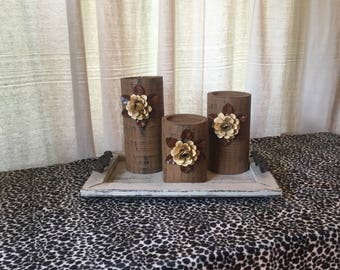 Wooden Candleholders (set of 3)  Brown with Cream Flowers
