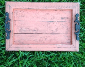 Decorative / Serving Tray - Coral Distressed