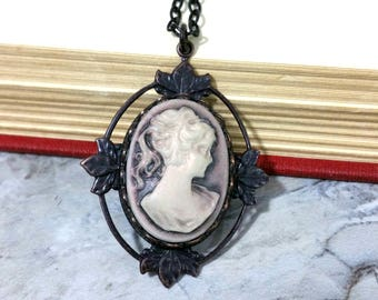 Art Nouveau Cameo Necklace, Victorian Cameo Necklace, Victorian Necklace, Art Nouveau Necklace, Victorian Jewelry, Lady Cameo Jewelry, Gift