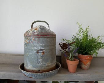 Vintage Rustic Farm galvanized metal Chicken Water Feeder