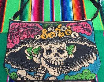 La Catrina Messenger Tote Bag. Dia de Los Muertos. Day of the Dead
