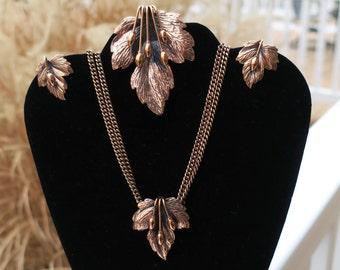 Vintage  Renoir Copper Leaf Jewelry Set