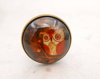 Owl ring, owl jewelry, cute owl, (2020B)