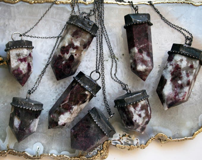 Medium or Large Pink Tourmaline in Granite Crystal Tower Necklace