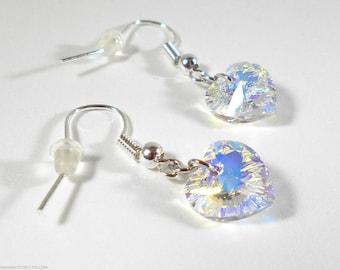 Heart Earrings Crystal Earrings Swarovski Earrings Swarovski Hearts Swarovski Jewelry Crystal Heart Sparkling Earrings