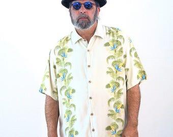 90s Tan Silk Tropical Shirt, Tommy Bahama Shirt, Silk Aloha Shirt, Silk Hawaiian Shirt, Hawaiian Silk Shirt, Island Shirt, Extra Large, XL