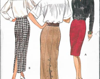 "Vintage 1992 Vogue 8542 Tapered Skirts, Princess Seaming & Button Down Back Slit Sewing Pattern Size 18-20-22 Waist 32""-34""-37"" UNCUT"