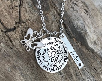 Butterfly necklace Jewelry | Butterfly Memorial | Memory Necklace | Personalized Necklace | Remembrance Gift | Gift for loss of a loved one