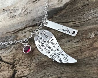 Angel Wing Necklace | Sterling Silver |Loss Sympathy Gift | Memorial Necklace | Remembrance Necklace |Loss of Family|Mom| Dad|Brother|Sister