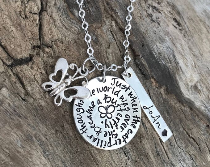 Butterfly necklace Jewelry   Butterfly Memorial   Memory Necklace   Personalized Necklace   Remembrance Gift   Gift for loss of a loved one